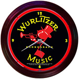 Wurlitzer Johnny One Note 15 Inch Neon Clock