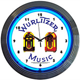 Wurlitzer Jukeboxes 15 Inch Neon Clock