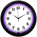 Black Rim Purple Standard 15 Inch Neon Clock