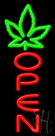 Open With Leaf Logo Neon Sign