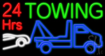 24 Hrs Towing Neon Sign