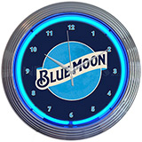 Blue Moon Beer Neon Clock