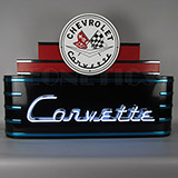 Art Deco Marquee Corvette Neon Sign In Steel Can