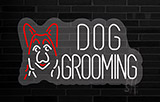 Dog Grooming Contoured Clear Backing Neon Sign