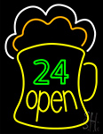 24 Open Beer Mug Neon Sign