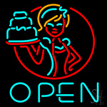 Cake With Girls Open Neon Sign