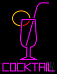 Cocktail Glass With Straw Neon Sign