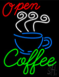 Open Coffee Cup Neon Sign