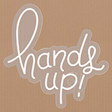 Hands Up Contoured Clear Backing Neon Sign