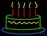 Happy Birthday Cake Neon Sign