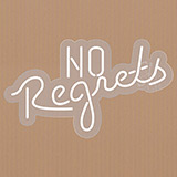 No Regrets Contoured Clear Backing Neon Sign