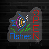 Open Fishes Contoured Clear Backing Neon Sign