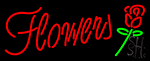 Red Flowers With Rose Neon Sign