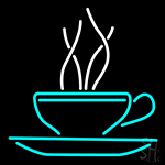 Turquoise Coffee Cup Neon Sign