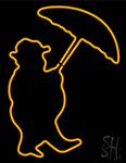 Umbrella With Man Logo Neon Sign