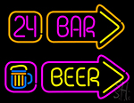 24 Bar Beer Arrow Neon Sign