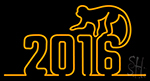 2016 With Monkey Neon Sign