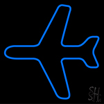 Blue Airplane Logo Neon Sign