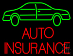 Auto Insurance With Car Neon Sign