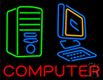 Computer With Logo Neon Sign