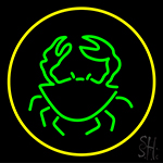 Green Crab With Circle Neon Sign
