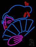 Japanese Girl With Fan Neon Sign