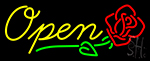 Open Rose Neon Sign