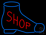 Shop With Blue Shoe Neon Sign