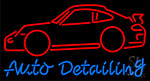 Auto Detailing With Red Car Neon Sign