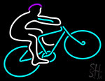 Blue Cycle Rider With Cycle Neon Sign