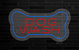 Dog Wash With Bone Contoured Clear Backing Neon Sign
