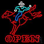 Horse Riding Open Neon Sign