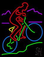 Mountain Cycle Riding Neon Sign
