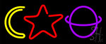 Moon Star Planet Neon Sign
