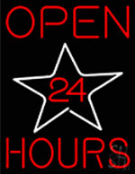 Open 24 Hours Star Neon Sign