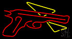 Red Gun With Pizza Neon Sign