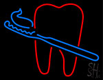 Teeth With Tooth Brush Dental Neon Sign