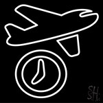 Travel Time Airplane Icon Neon Sign