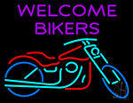 Welcome Bikers With Bike Neon Sign