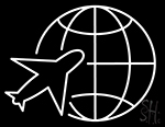 Globe Planet Travel Plane Neon Sign