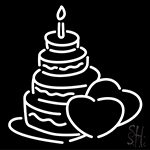 White Wedding Cake With Heart Neon Sign