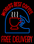 Worlds Best Coffee With Logo Neon Sign