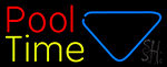 Double Stroke Pool Time With Billiard Neon Sign
