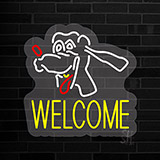Dog Welcome 2 Contoured Clear Backing Neon Sign