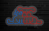 Dog and Cat Logo Contoured Clear Backing Neon Sign