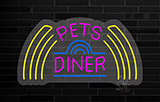 Pet Diner 1 Contoured Clear Backing Neon Sign
