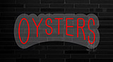 Red Oysters Block Contoured Clear Backing Neon Sign
