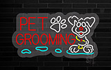 Red Pet Grooming Contoured Clear Backing Neon Sign