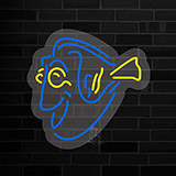 Yellow Blue Fish Contoured Clear Backing Neon Sign
