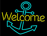 Welcome With Anchor Neon Sign